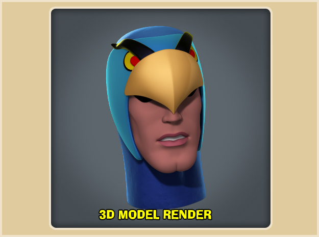 1:6 Scale Blue Falcon Head in White Strong & Flexible Polished