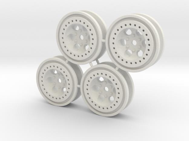 Bead-lock Stock offset 7mm hex - Losi McRC/Trekker in White Natural Versatile Plastic
