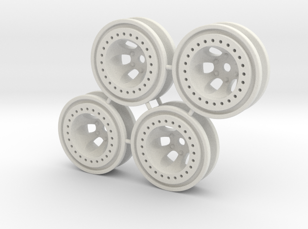 "Bead-lock 1/4"" offset 7mm hex - Losi McRC/Trekker in White Natural Versatile Plastic"
