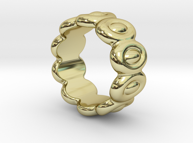 Elliptic Ring 16 - Italian Size 16 in 18k Gold Plated Brass