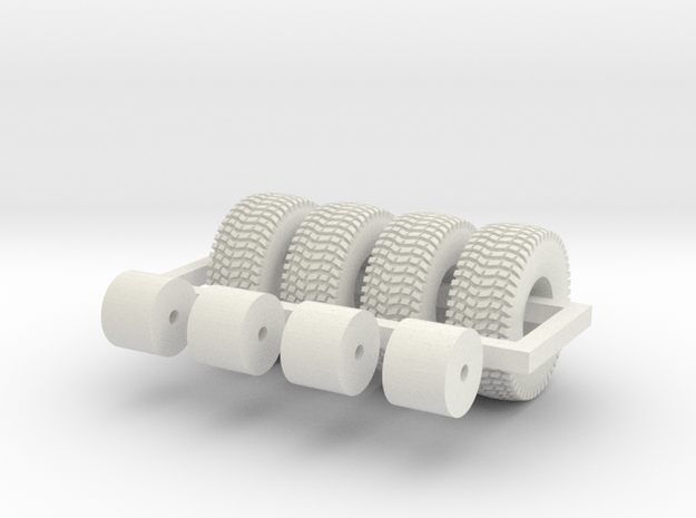 1/64 20.5x8-10 wheels and tires in White Natural Versatile Plastic