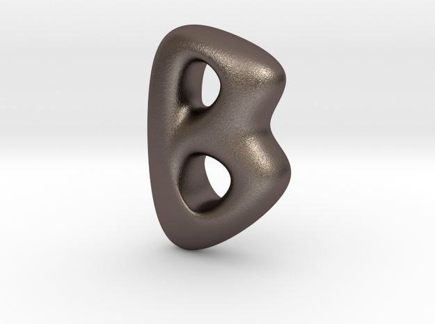 RUNE- B in Polished Bronzed Silver Steel