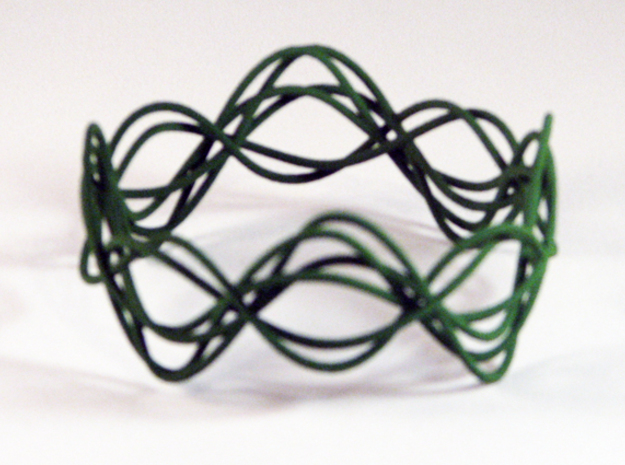 Wave Bangle B02L in Green Strong & Flexible Polished
