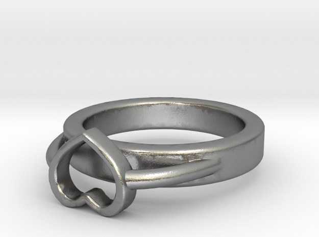 Ø15.40mm - Ø0.606inch Heart Ring A Bis in Natural Silver
