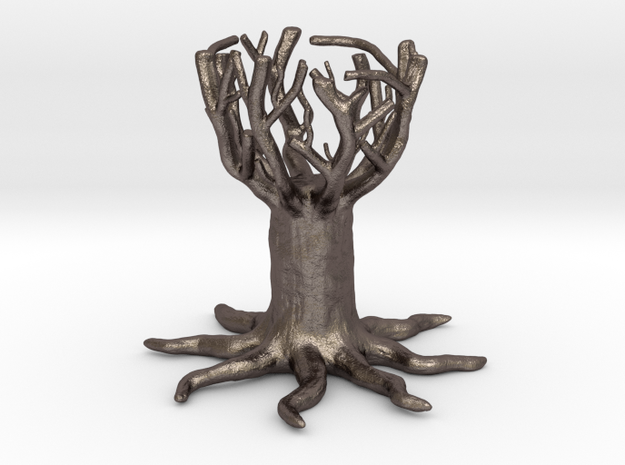 Tree cup- egg holder in Polished Bronzed Silver Steel
