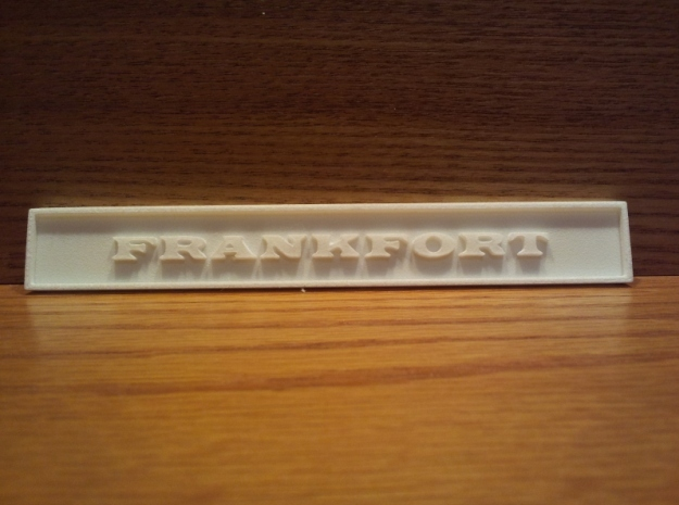 "1:24 Frankfort Sign 4"" in White Natural Versatile Plastic"