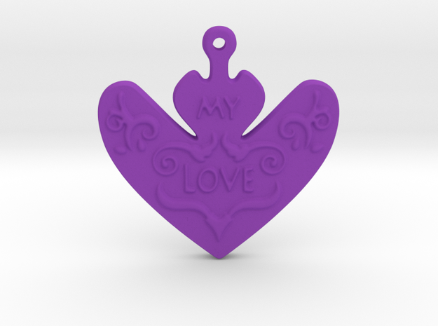 My Love My Life Necklace in Purple Processed Versatile Plastic