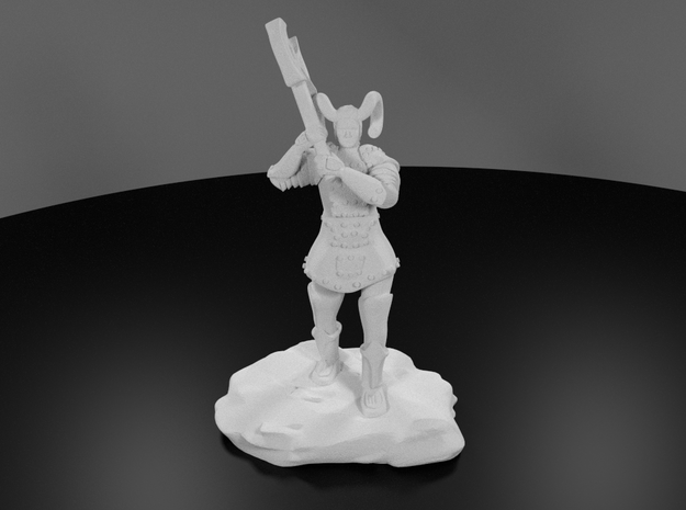Tiefling Paladin Mini in Plate with Great Axe 3d printed 3D Render