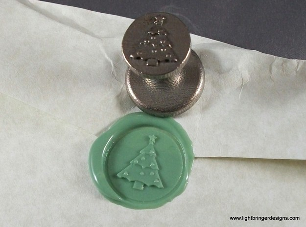 Christmas Tree  Wax Seal in Polished Bronzed Silver Steel