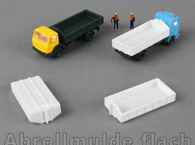 1/160 Spur N scale Abrollbehälter flach 10er in White Strong & Flexible