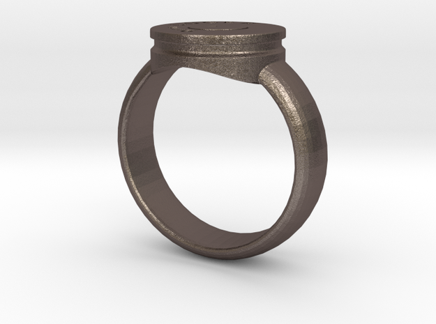 RING STL in Polished Bronzed Silver Steel