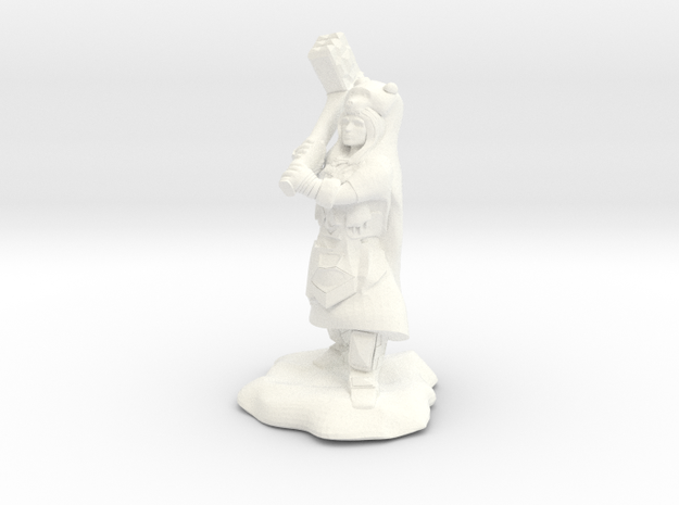 Dwarf Shaman with Bear Cloak and Warhammer in White Strong & Flexible Polished