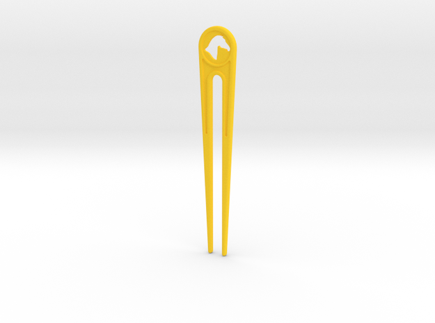 Branded Hair Stick (Two Prong) in Yellow Strong & Flexible Polished