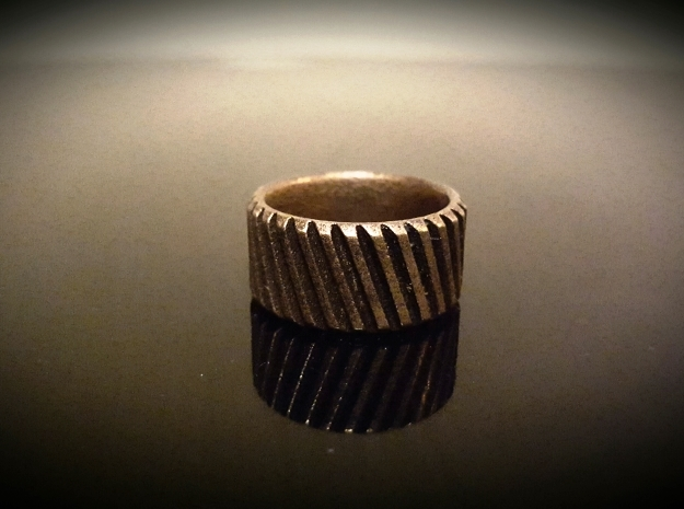 Gear Cog Fashion Ring Size 11 in Polished Bronze Steel