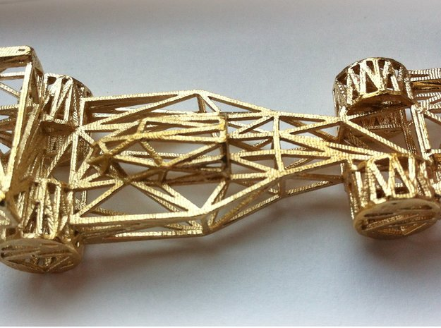 F1 Car Wireframe in Natural Brass