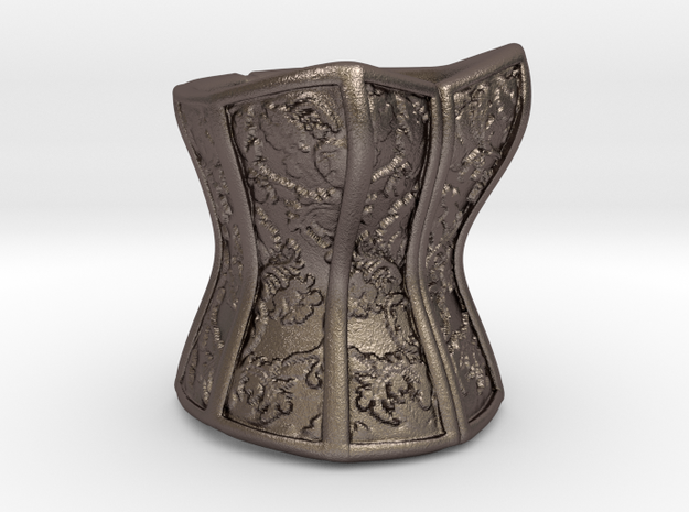 Victorian Damask Corset, c. 1860-68 in Polished Bronzed Silver Steel