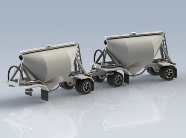 HO 1/87 Shorty Dry Bulk Trailer 07a (pup & dolly) 3d printed CAD render of two pups & thesingle-axle dolly.