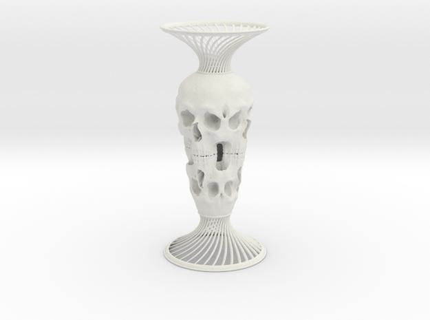 Skull Vase in White Strong & Flexible