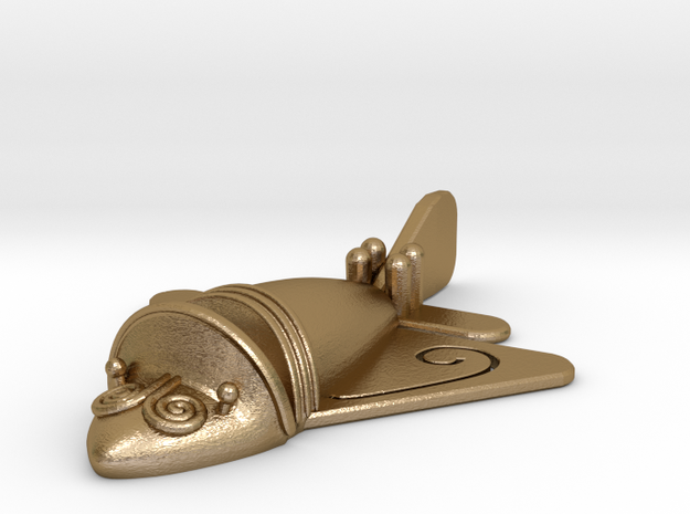Quimbaya Airplane - 60mm in Polished Gold Steel