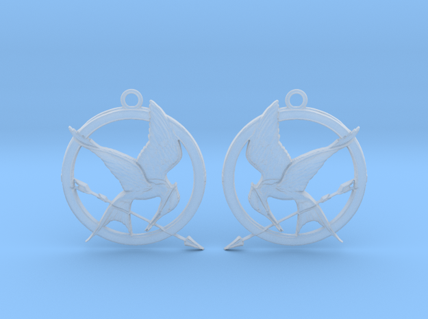 The Hunger Games Logo Earrings in Smooth Fine Detail Plastic