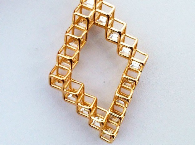 "Cube Earrings 1  ""Points of View"" collection in 14k Gold Plated"