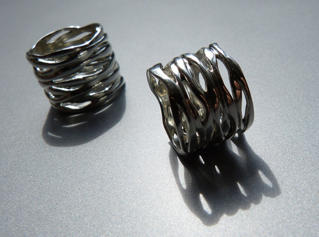 BASHIBA RAW WAVES (16.6 mm) in Polished Bronzed Silver Steel