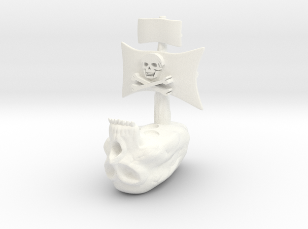 Skull Ship2 in White Processed Versatile Plastic