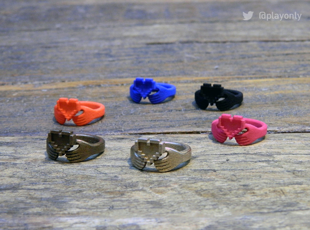 8bit Claddagh Ring  3d printed Counter Clockwise - Blue, Red, Bronze Glossy, Stainless Steel, Pink, Black.