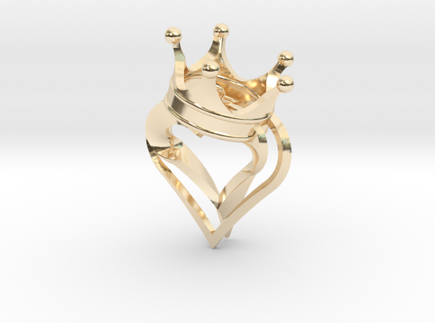 King Of Hearts Pendant 2 in 14k Gold Plated