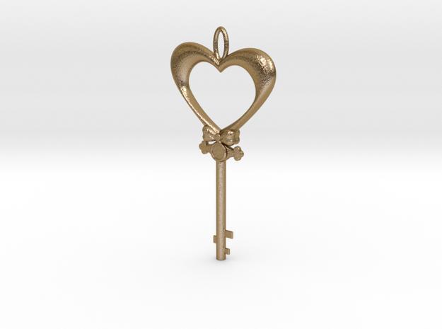 Magic Valentine's Heart Key (10% off until Feb14) in Polished Gold Steel