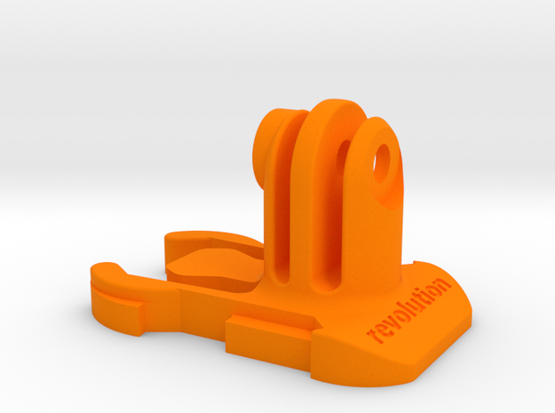 Short Direct Mount GoPro Quick Release Clip in Orange Processed Versatile Plastic
