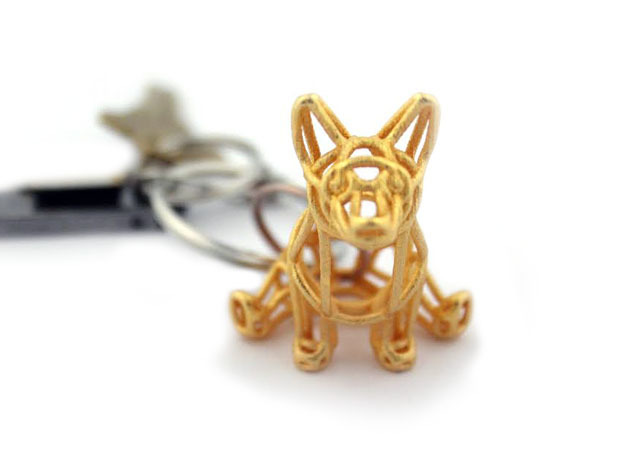 Corgi Wireframe Keychain (sitting) in Polished Gold Steel