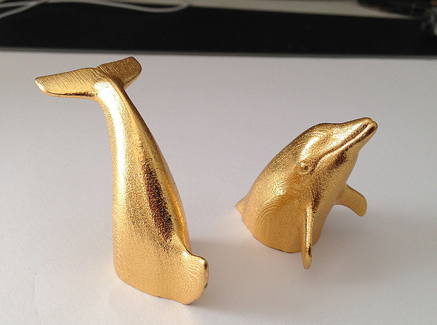 Diving Dolphin S (Tail) in Polished Gold Steel