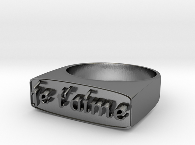 """RING   """" Je t'aime """"   U.S Size  6 3/4 in Polished Silver"""