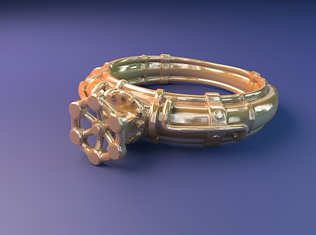 Pipe Ring with valve in 14k Gold Plated