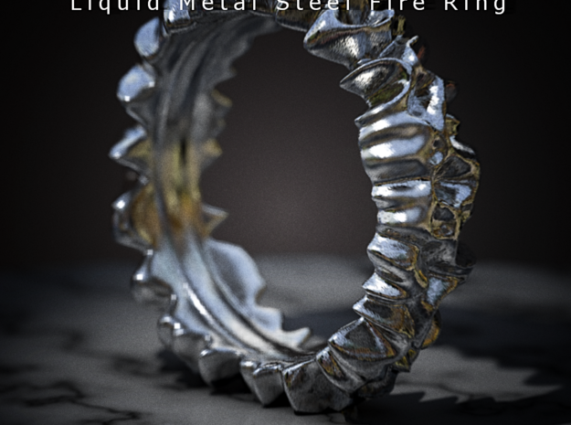 Liquid Metal Steel Fire Ring 3d printed