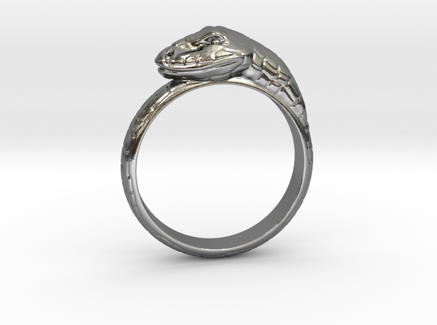 Snake Ring - (Sizes 5 to 15 available) US Size 9 in Polished Silver