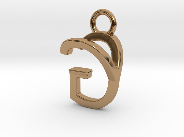 Two way letter pendant - GY YG in Polished Brass