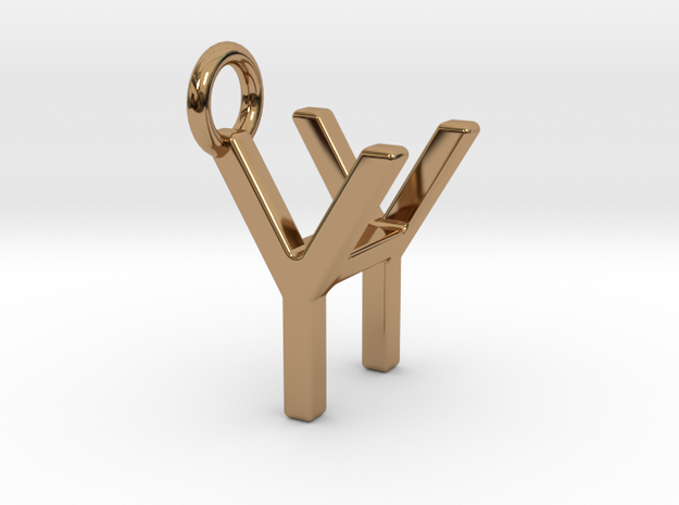 Two way letter pendant - HY YH in Polished Brass