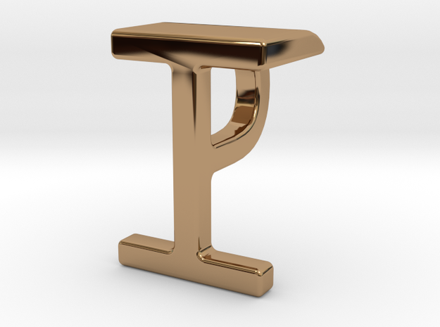 Two way letter pendant - IP PI in Polished Brass