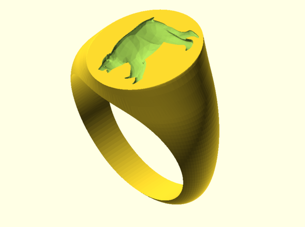 Bear Signet Ring (Size 6) in 18k Gold Plated