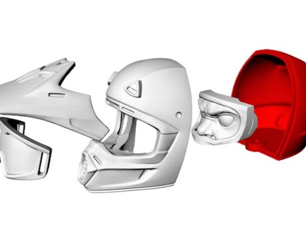 WW10004 Wild Willy Moto Helmet - Back 3d printed Purchase only includes red part. See link below to purchase the complete figure