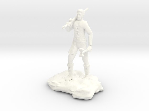 Half Orc Sorcerer With Sword And Hammer in White Processed Versatile Plastic