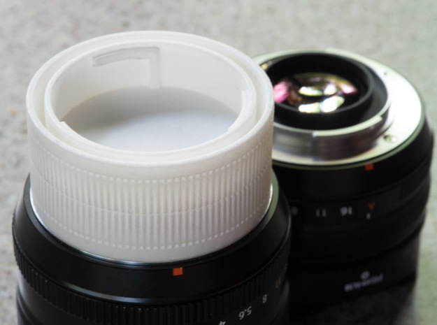 Fuji X mount double lens cap in White Processed Versatile Plastic