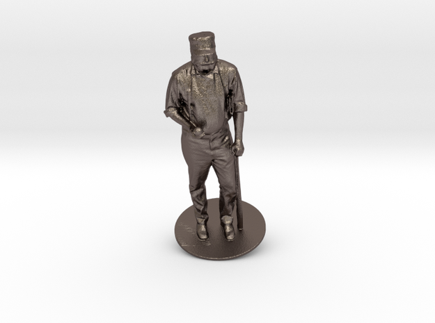 Charlie Rhodamer As 1880s Baseballer in Polished Bronzed Silver Steel