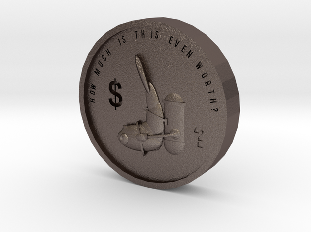 F.o.w Coin in Polished Bronzed Silver Steel