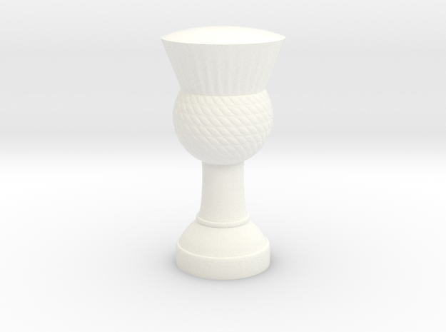 Thistle flag pole finial (strong plastic) in White Strong & Flexible Polished