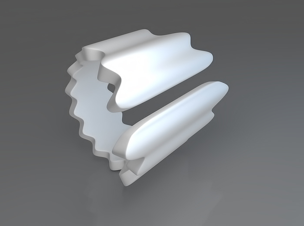 Waves ring (Size 18). 3d printed Waves Ring - Rendering