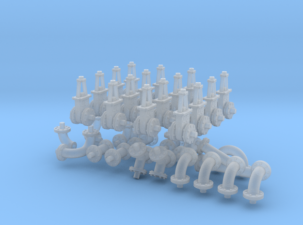 6-inch Fittings Valves in Smooth Fine Detail Plastic