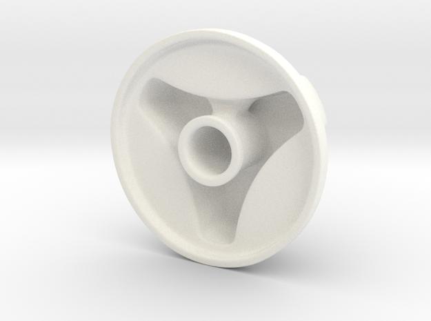 Knob Simple 3-lobe in White Processed Versatile Plastic